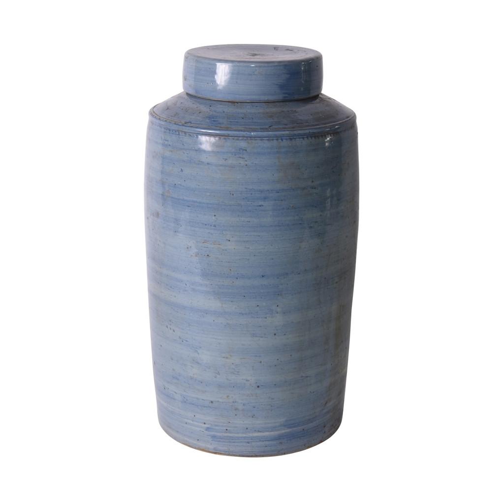 Denim Blue Village Tea Jar