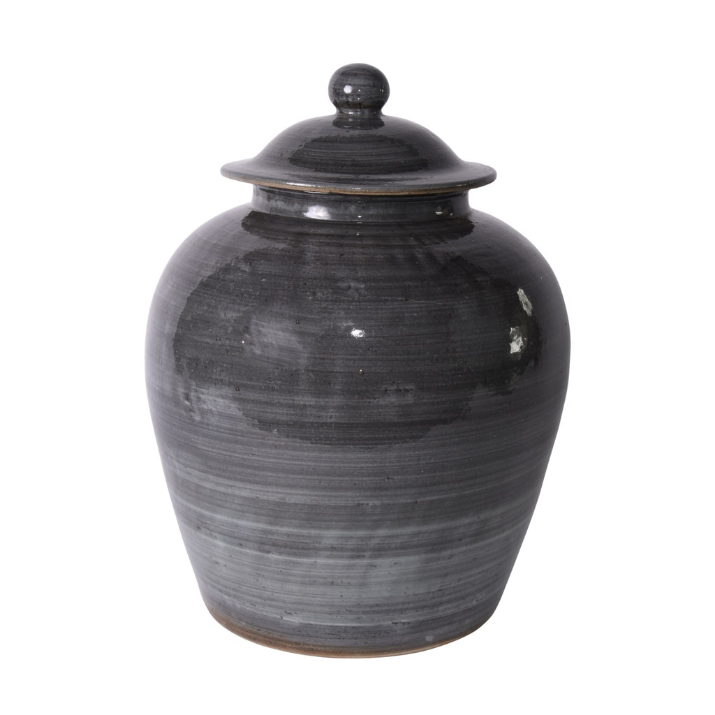 Iron Gray Village Lidded Jar