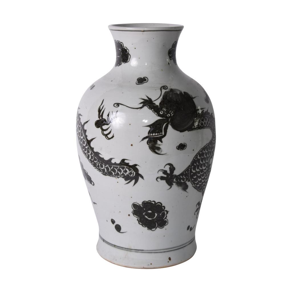 Porcelain Black Dragon Fairy Vase - 2 Sizes