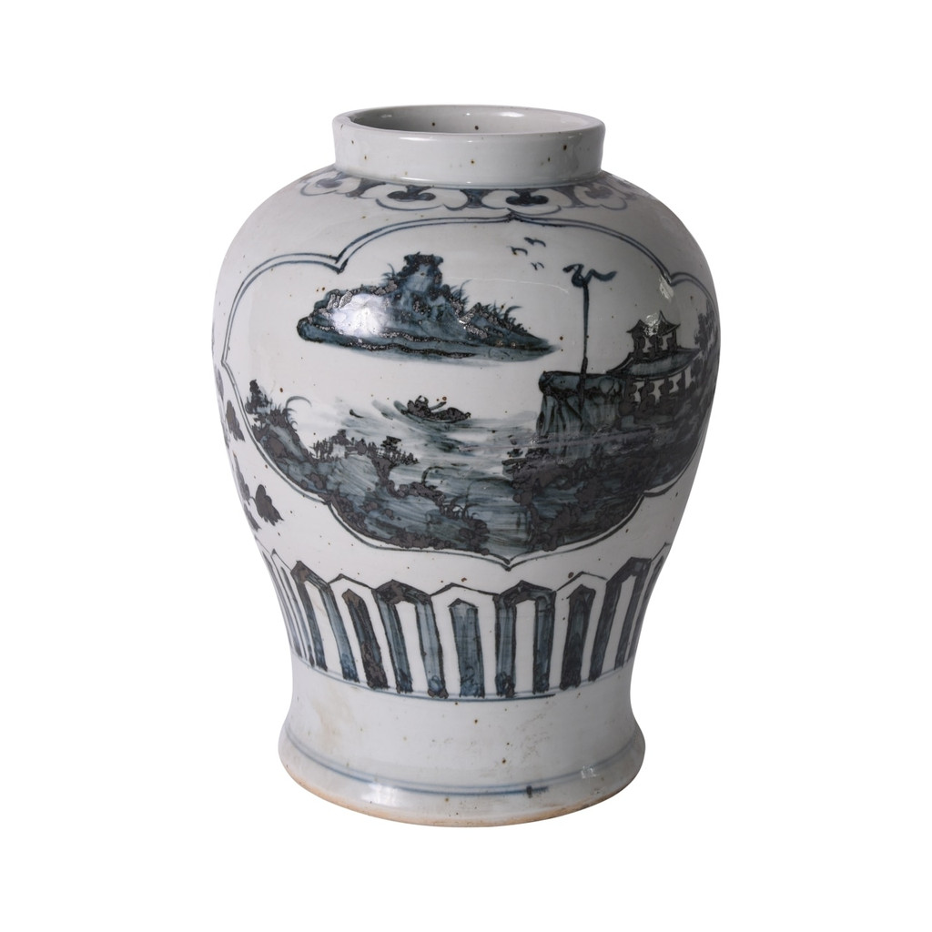 Blue And White Landscape Medallion Open Top Jar