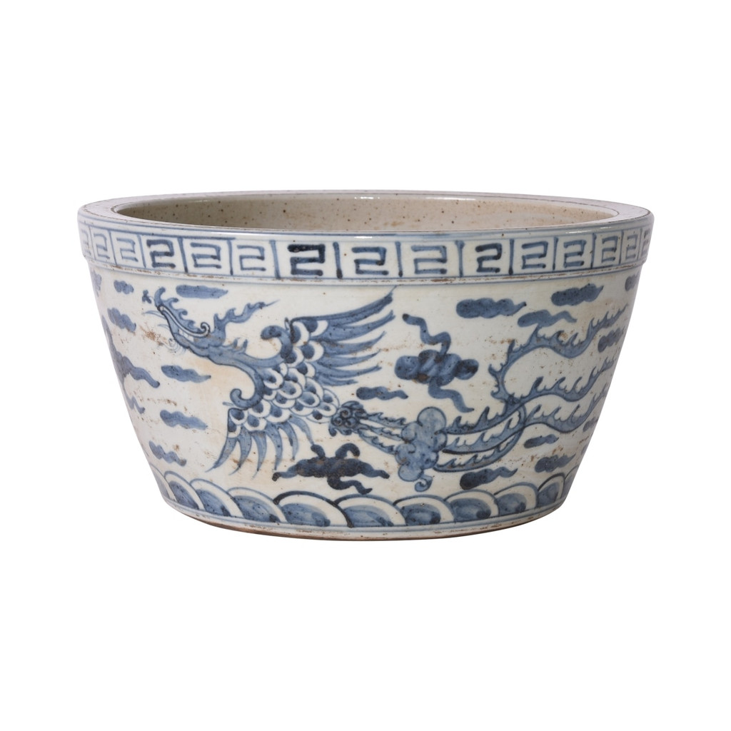Blue And White Ming Dragon Phoenix Basin Planter