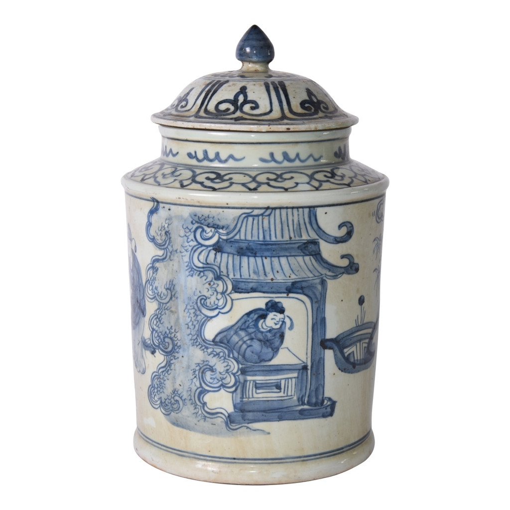Blue And White Ancient People Lidded Jar