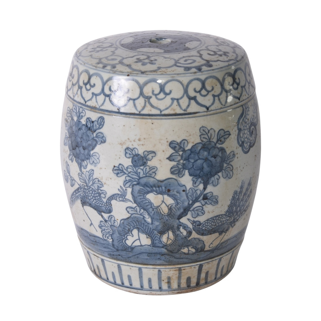 Blue And White Pheasant Flower Mini Stool