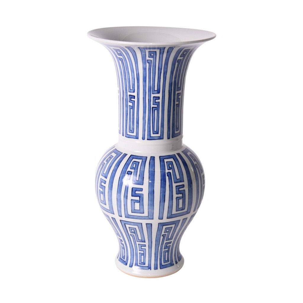 Blue And White Siam Symbol Baluster Vase