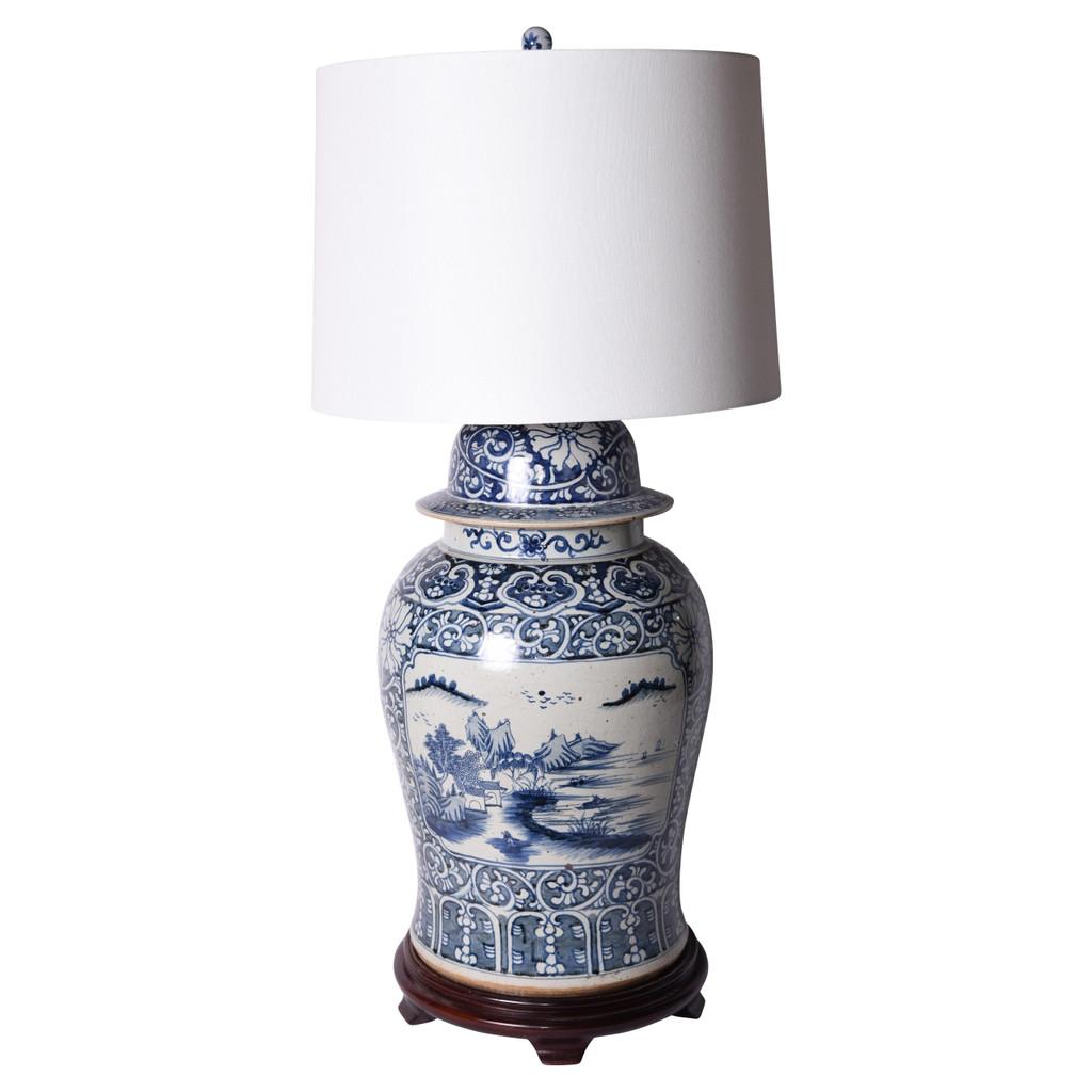 Blue & White Porcelain Floral Landscape Medallion Temple Jar Lamp