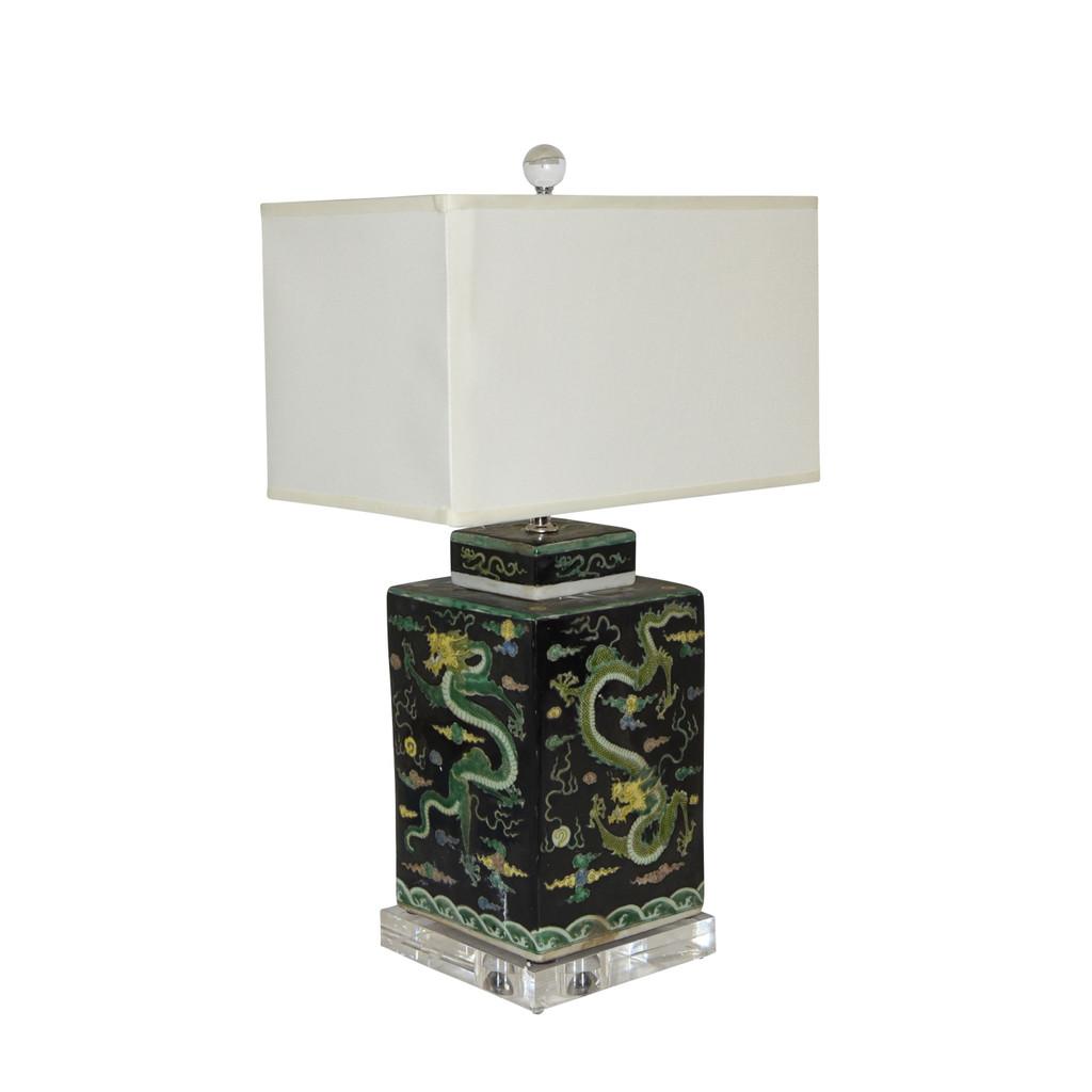 Black Square Tea Jar Dragon Motif Lamp
