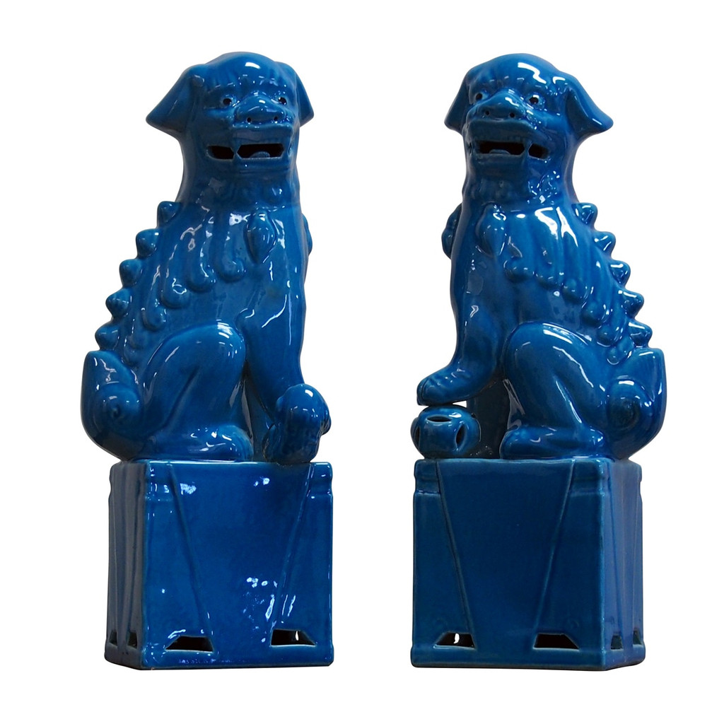 Porcelain Sitting Foo Dog Pair Turquoise- 3 Sizes