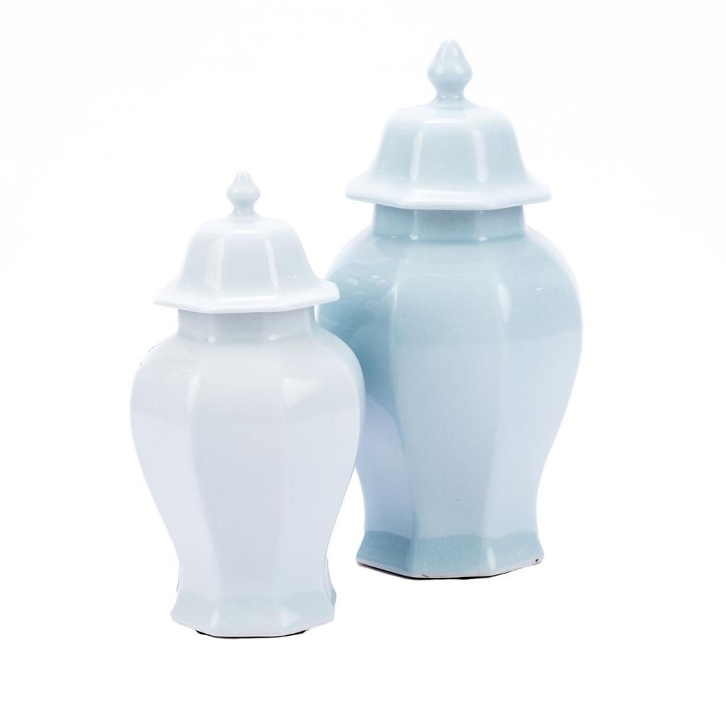Octagonal Temple Jar Light Blue Crackle - 2 Sizes