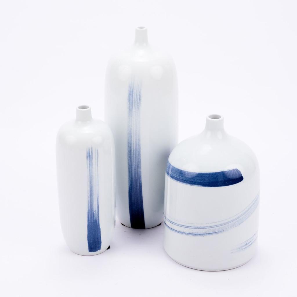 Blue and White Brushstrokes Spin Vase - 2 Sizes