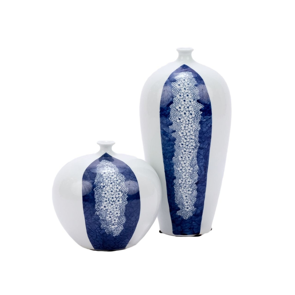 Blue and White Plum Petals Vase - 2 Sizes