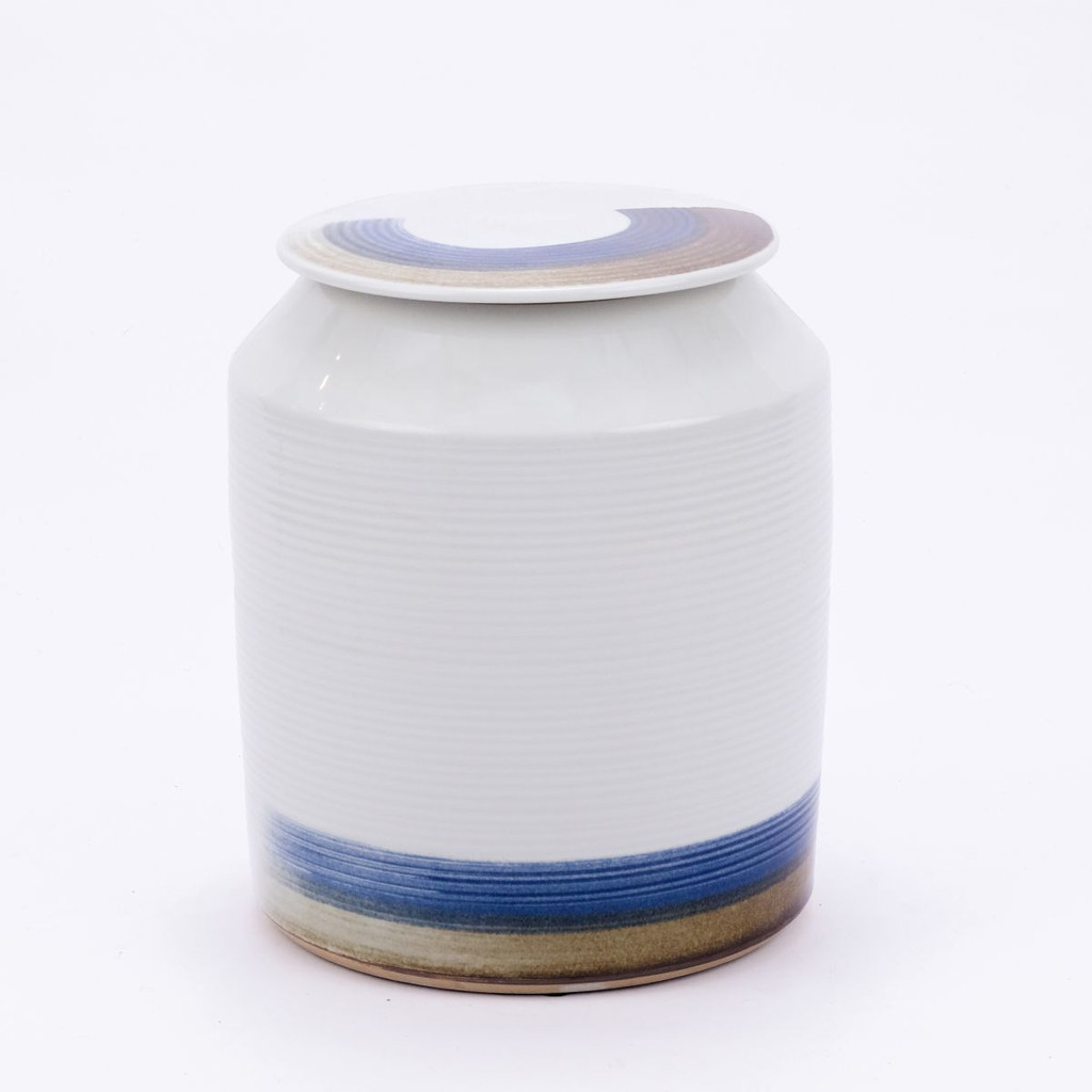 Blue & White Brushstroke Surrounding Cylinder Porcelain Jar - 2 Sizes