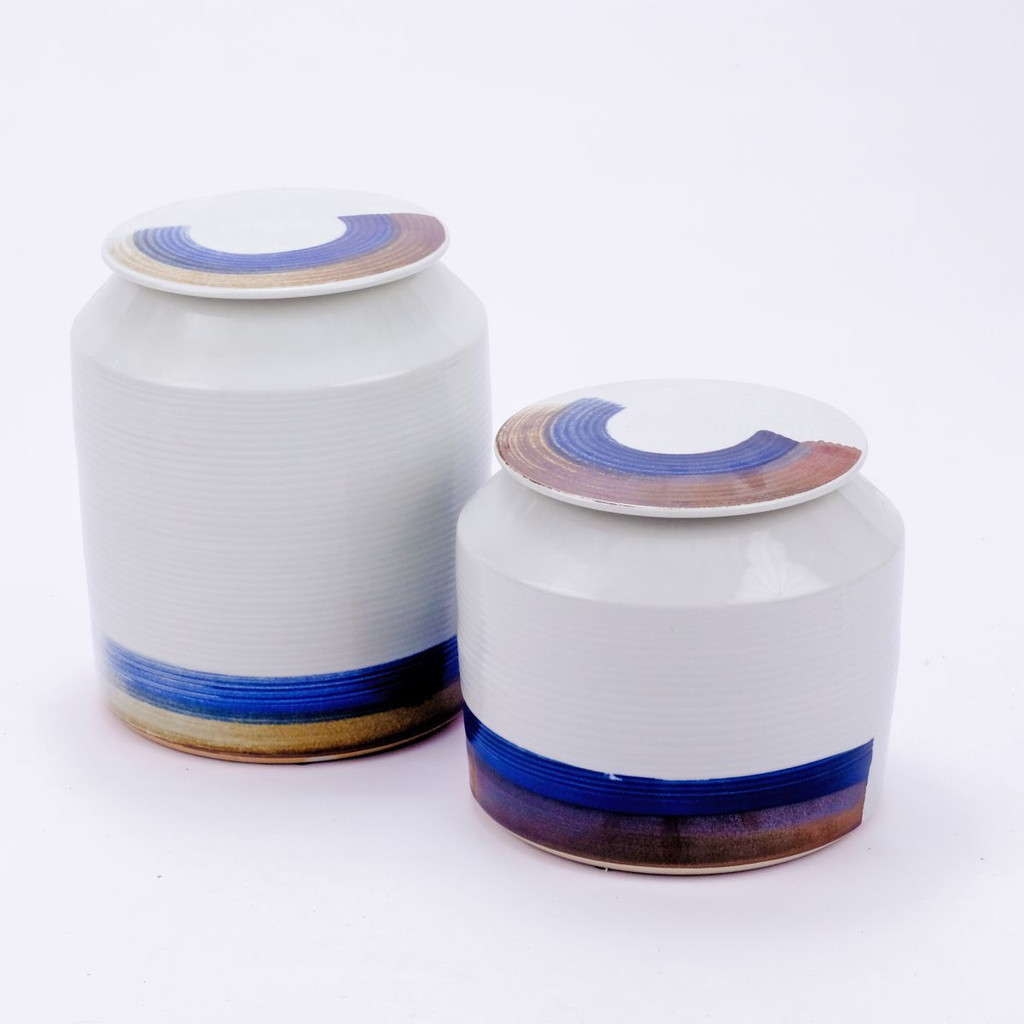 Blue & White Porcelain Brushstroke Surrounding Cylinder Jar - 2 Sizes