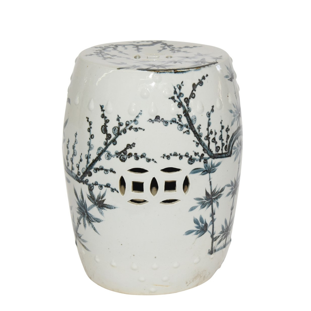 Blue And White Porcelain Garden Stool Magpie On Treetop