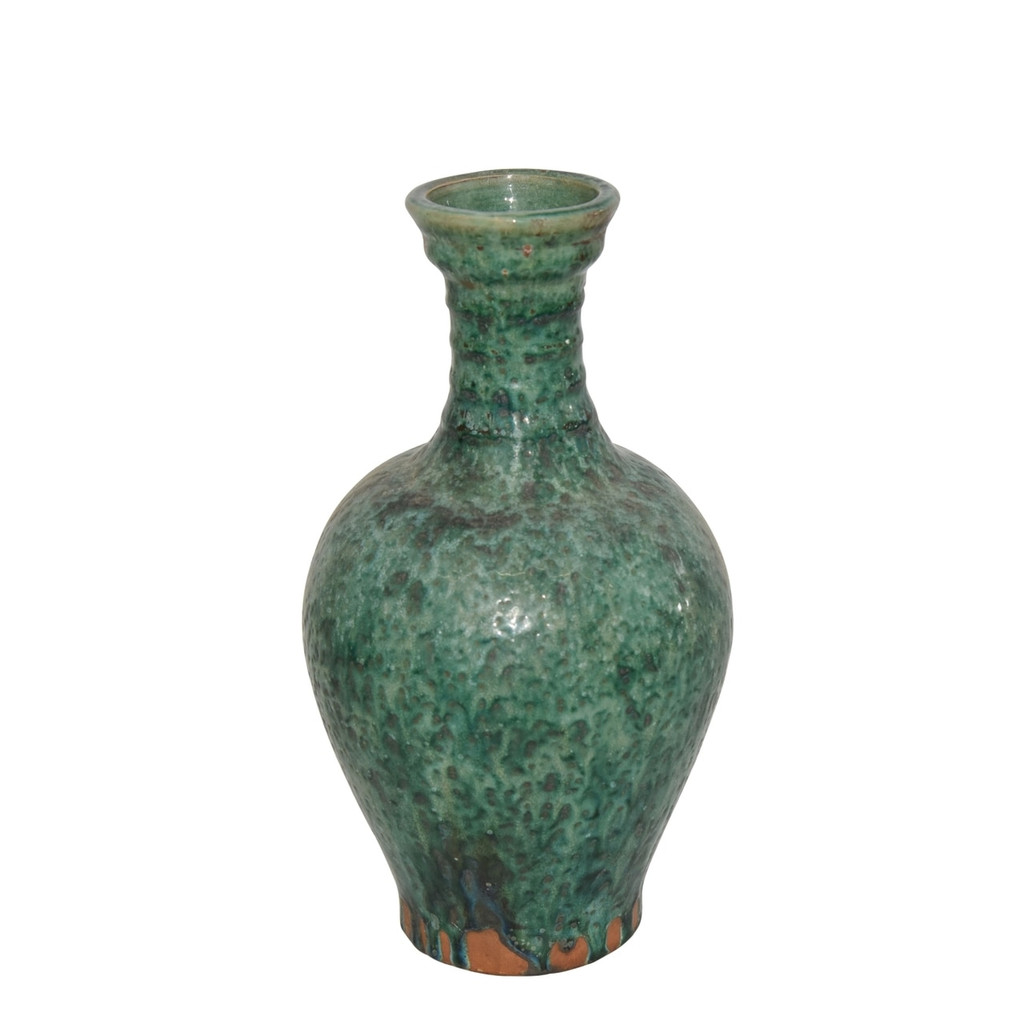 Speckled Green Ridged Neck Vase