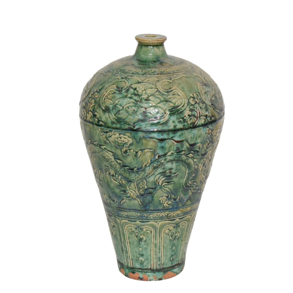 Speckled Green Carved Dragon Plum Vase