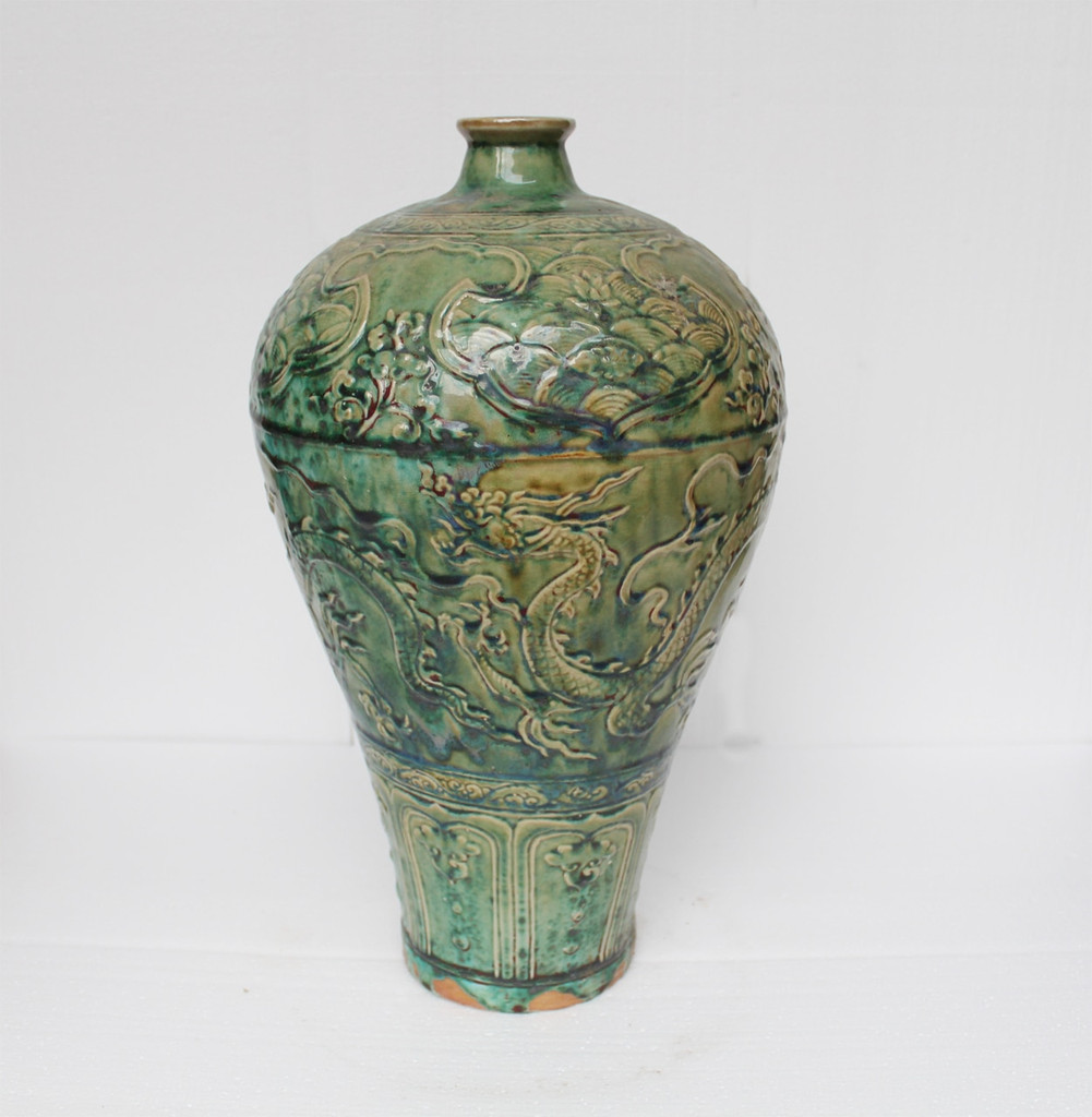 Speckled Green Carved Dragon Plum Vase