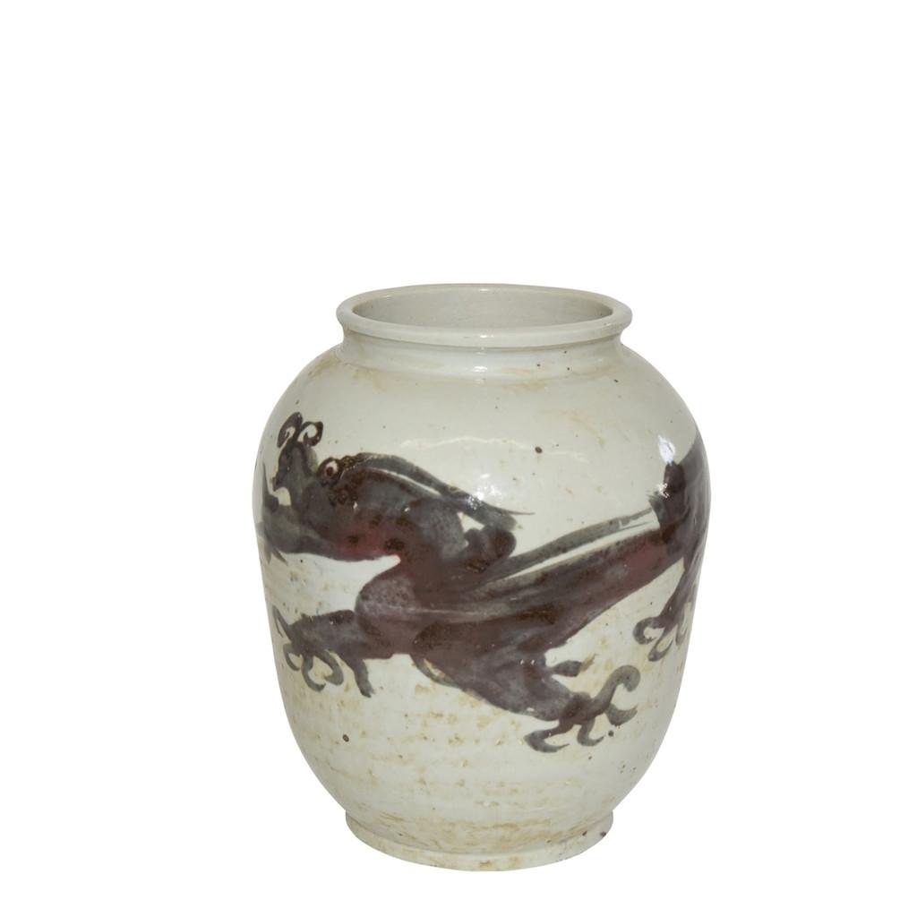 Dark Brown Squash Vase Dragon Motif