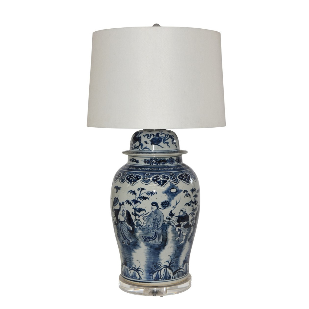 Blue And White Eight Immortals Temple Jar Table Lamp