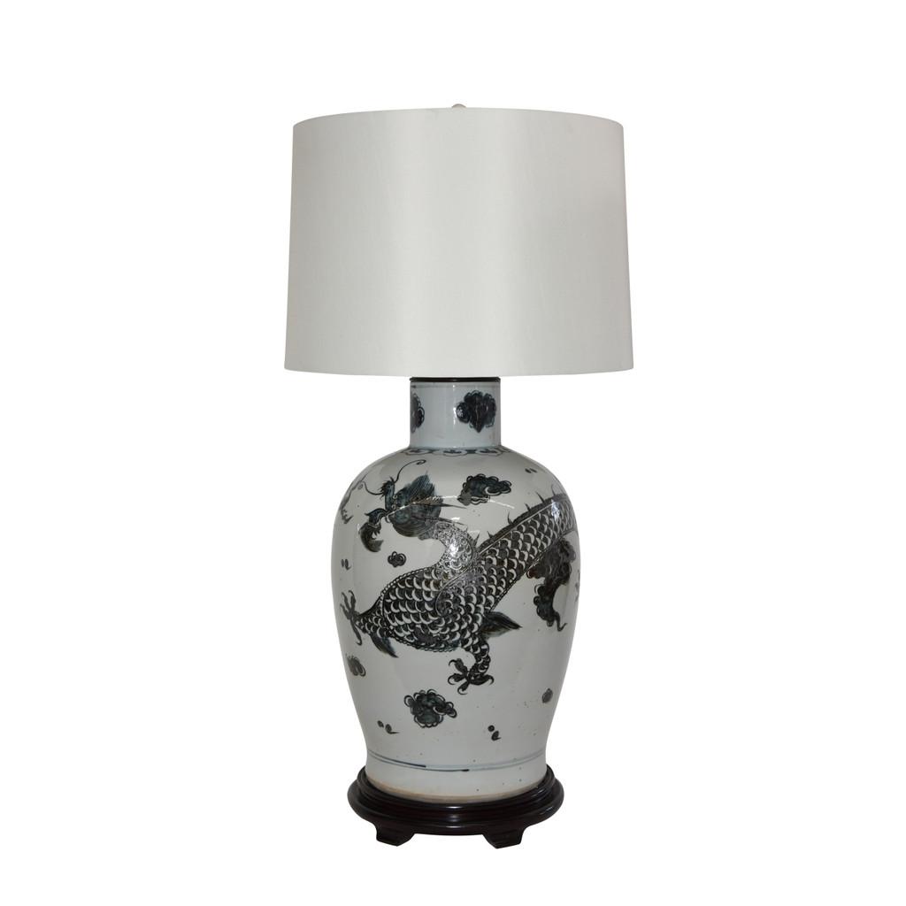 Blue & White Porcelain Baluster Vase Dragon Motif Lamp Wooden Base