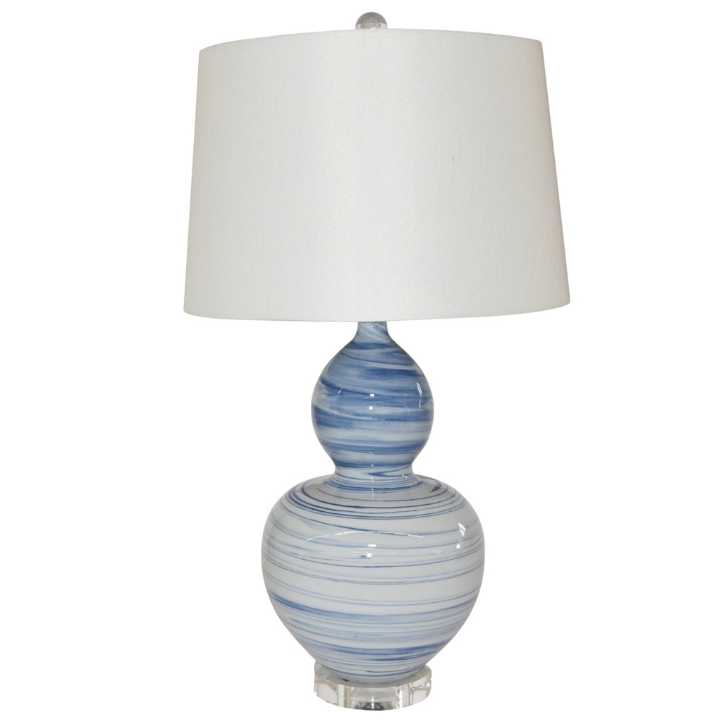 Blue And White Marblized Gourd Vase Lamp