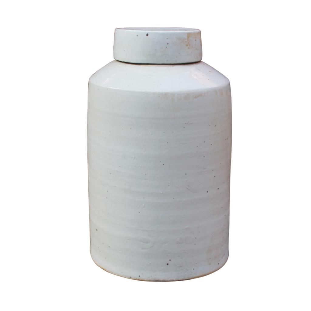 Busan White Round Tea Jar - 2 Sizes