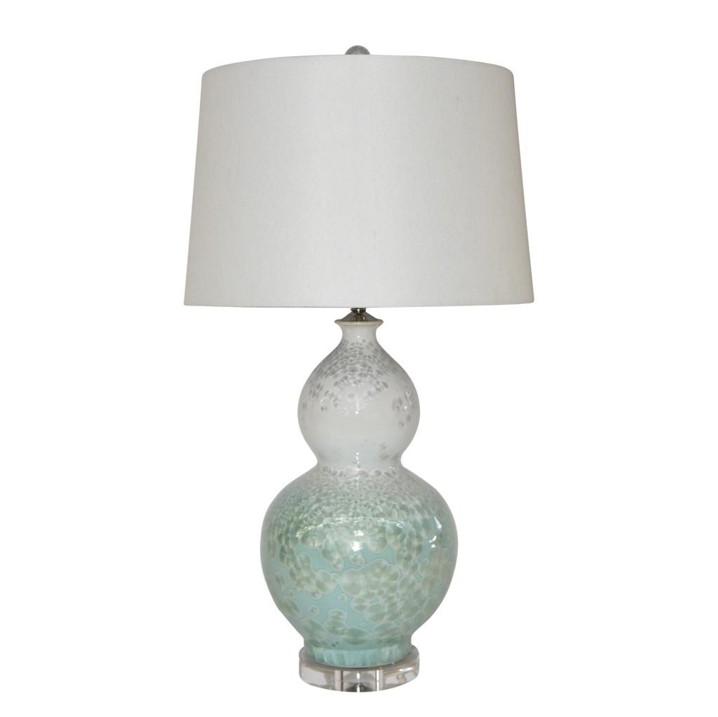 White Green Crystal Shell Gourd Vase Lamp