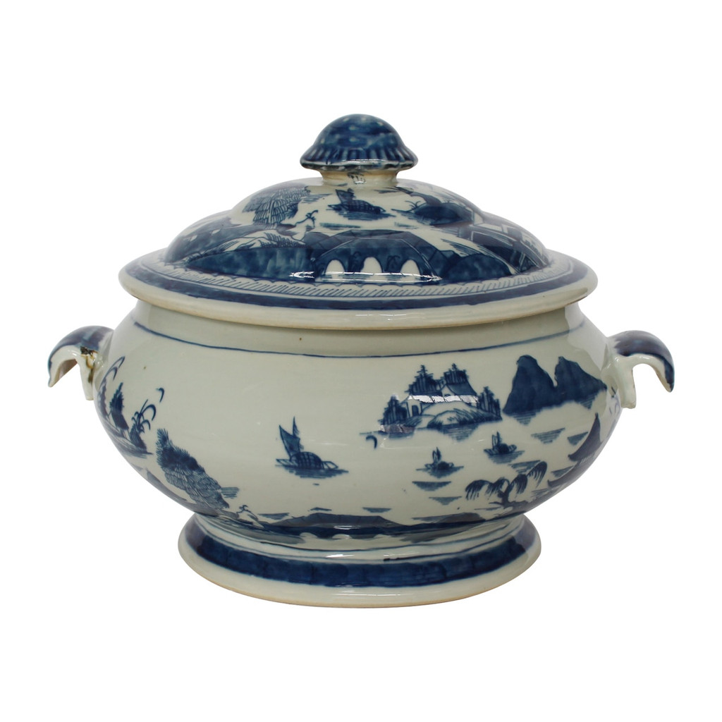 Blue And White Porcelain Oval Fruit Jar With Lid