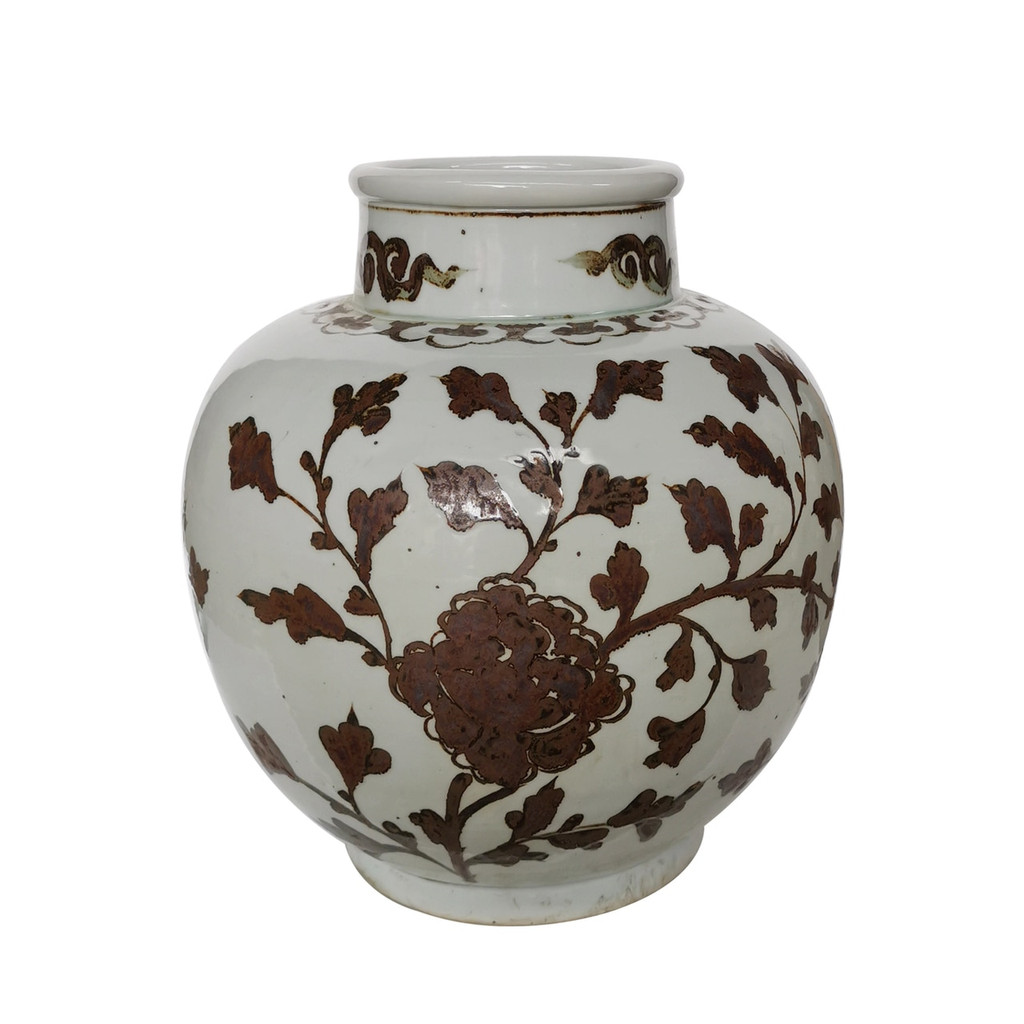 Brown Daisy Tall Neck Olive Vase