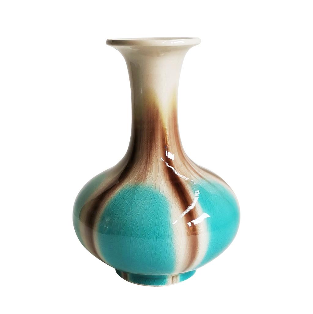 Blue Reaction Glazed Morning Glory Vase