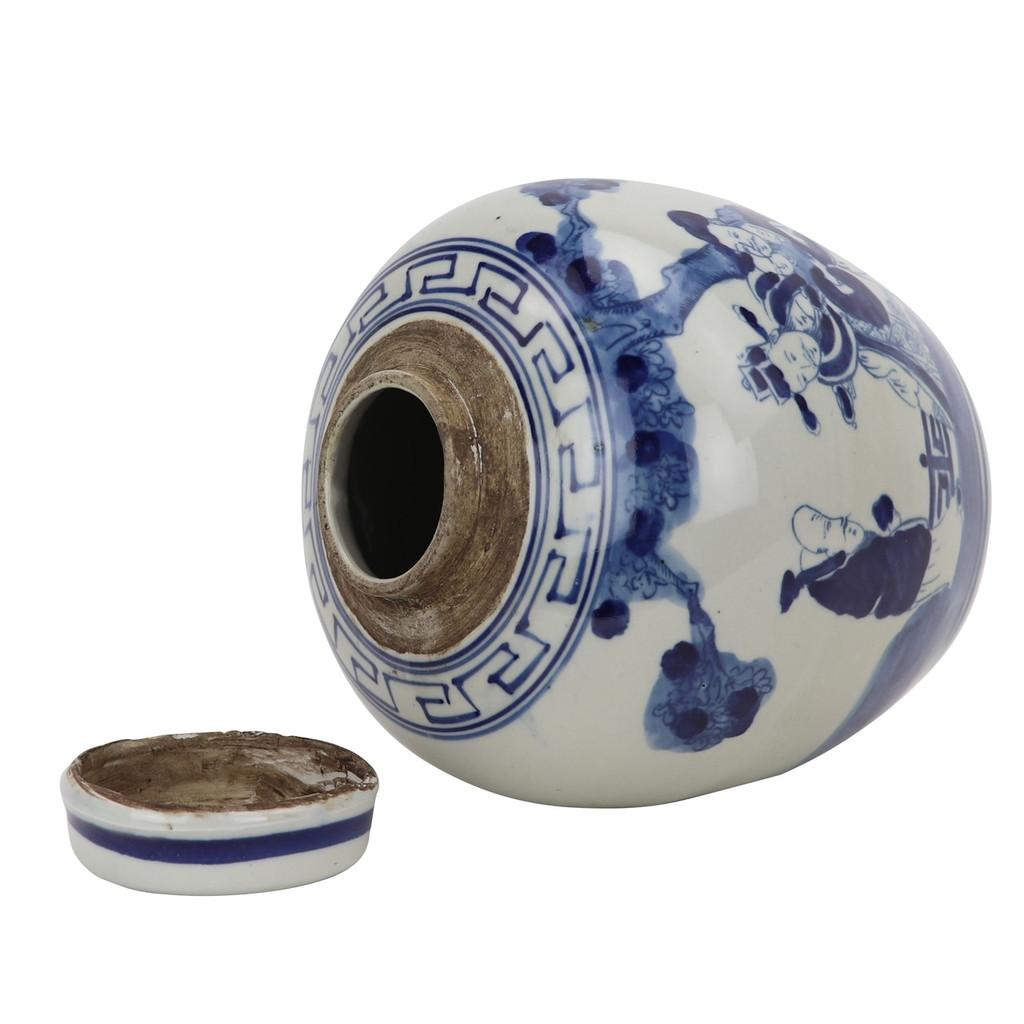 Blue And White Mini Jar Three Immortals