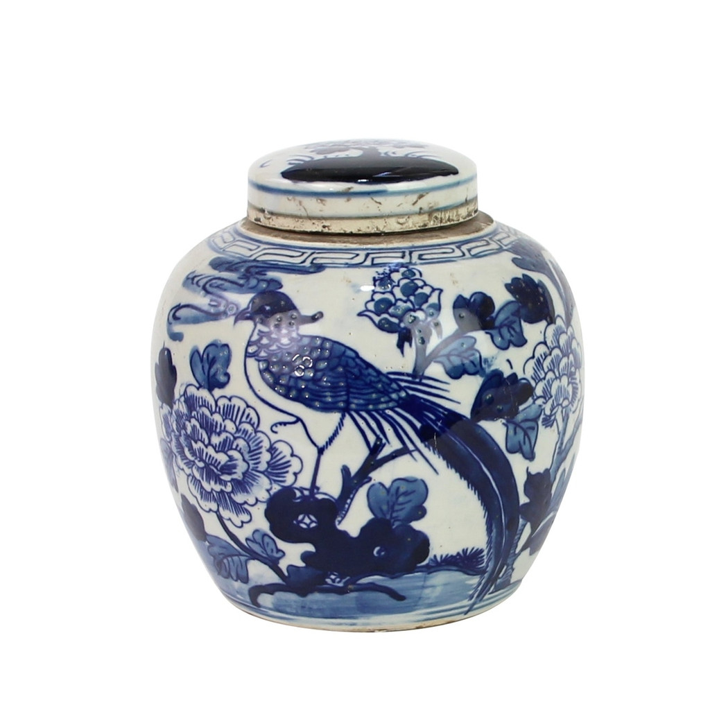 Blue And White Mini Jar Pheasant With Flower