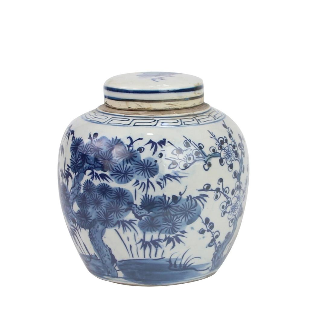 Blue And White Mini Jar Pine Tree