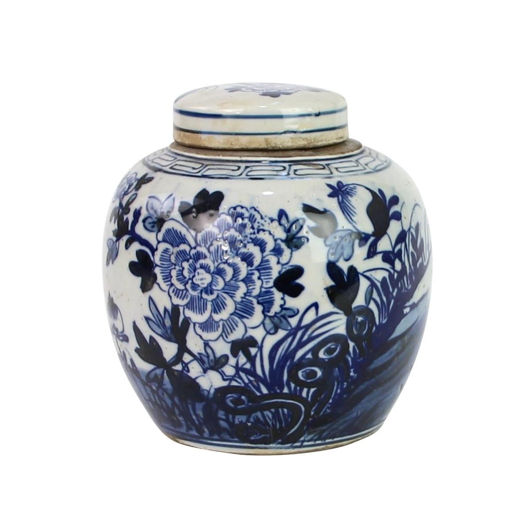 Blue And White Mini Jar Flower Blossom