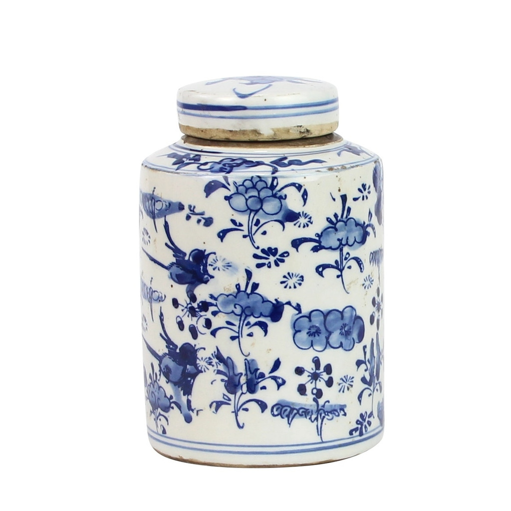 Blue And White Mini Tea Jar Lotus Floral