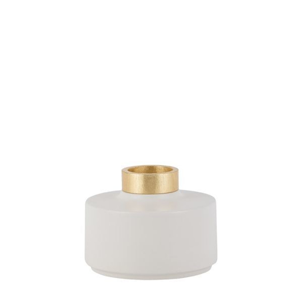 Vase Christie Ceramic/ Wood White/ Golden - 3 Sizes