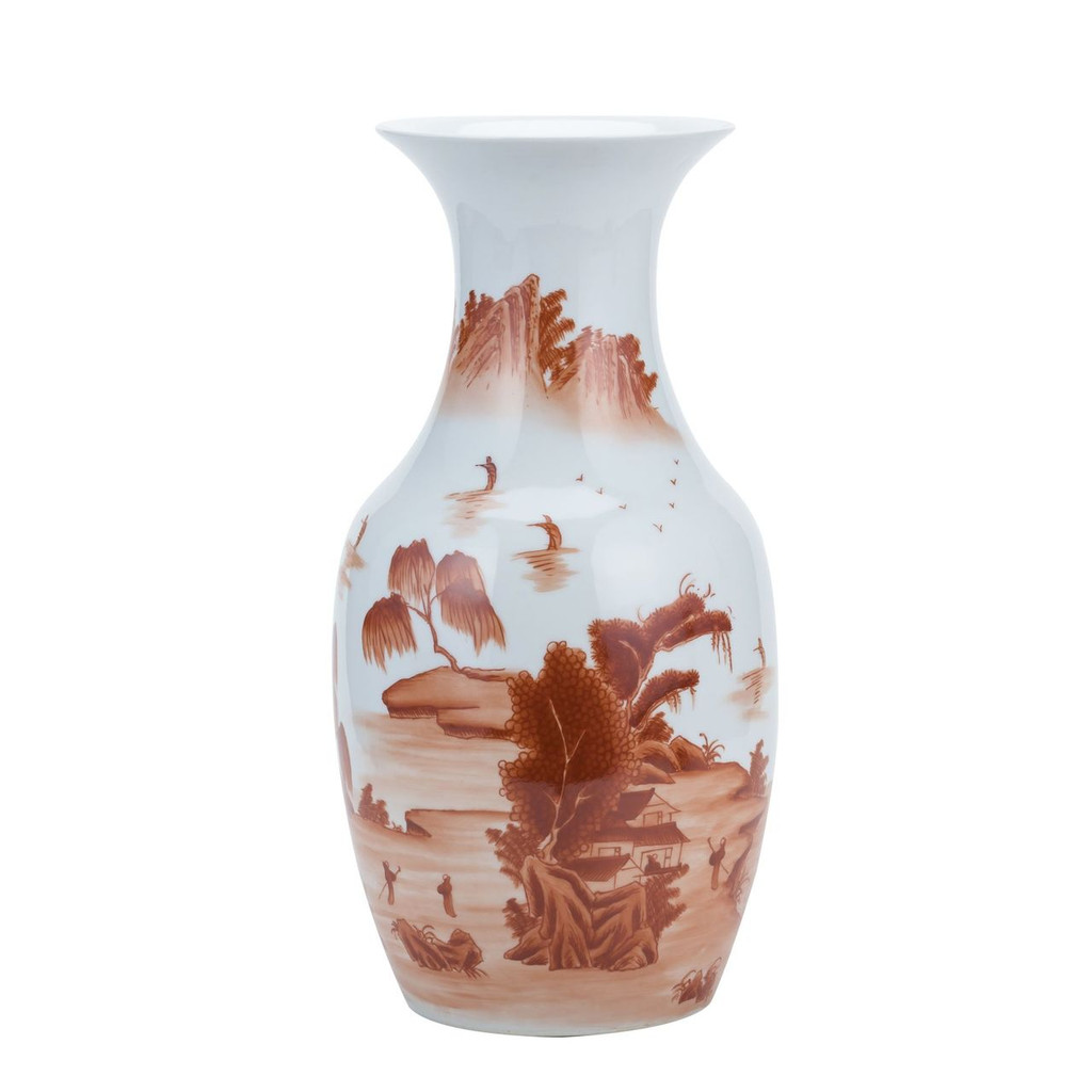 Orange Landscape Fish Tail Vase