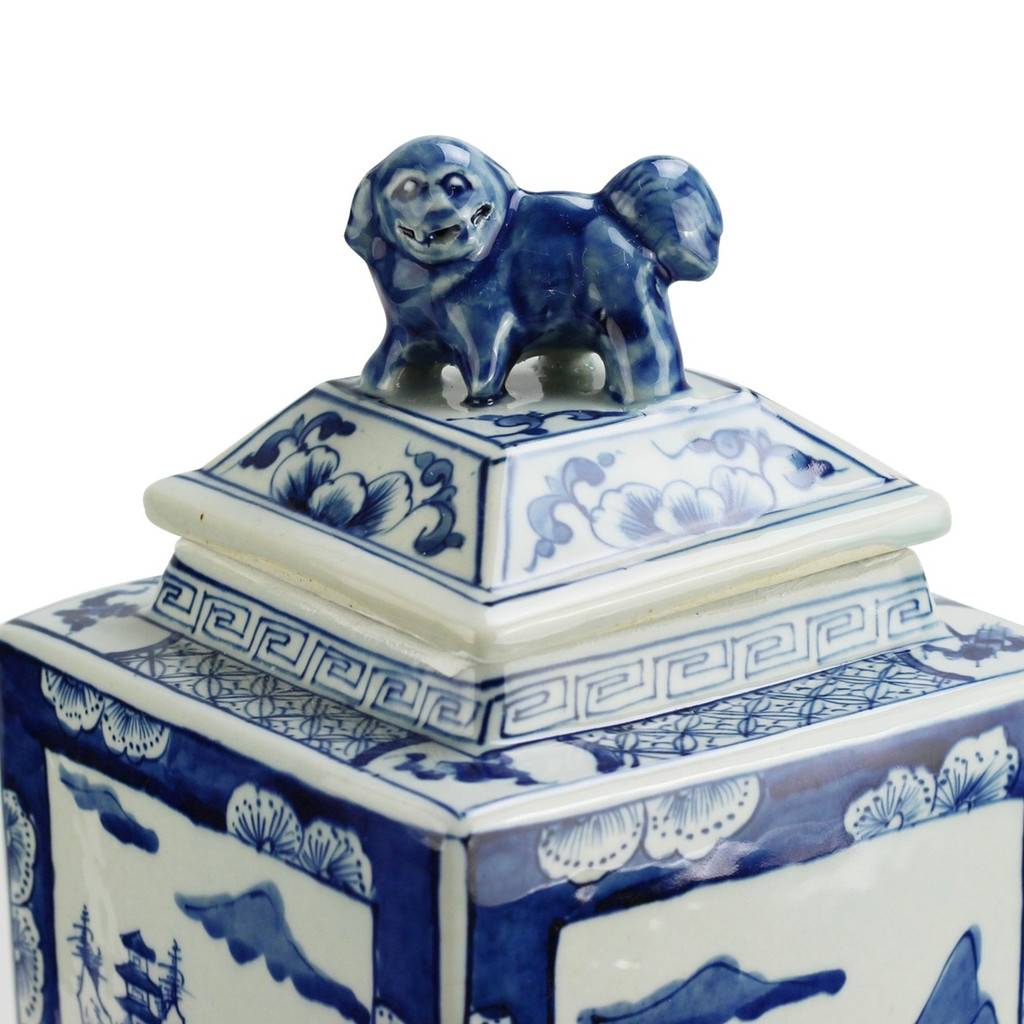 Blue And White Tall Square Jar Landscape