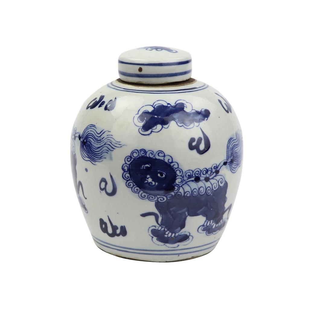 Blue And White Tiny Lid Mini Jar Lion