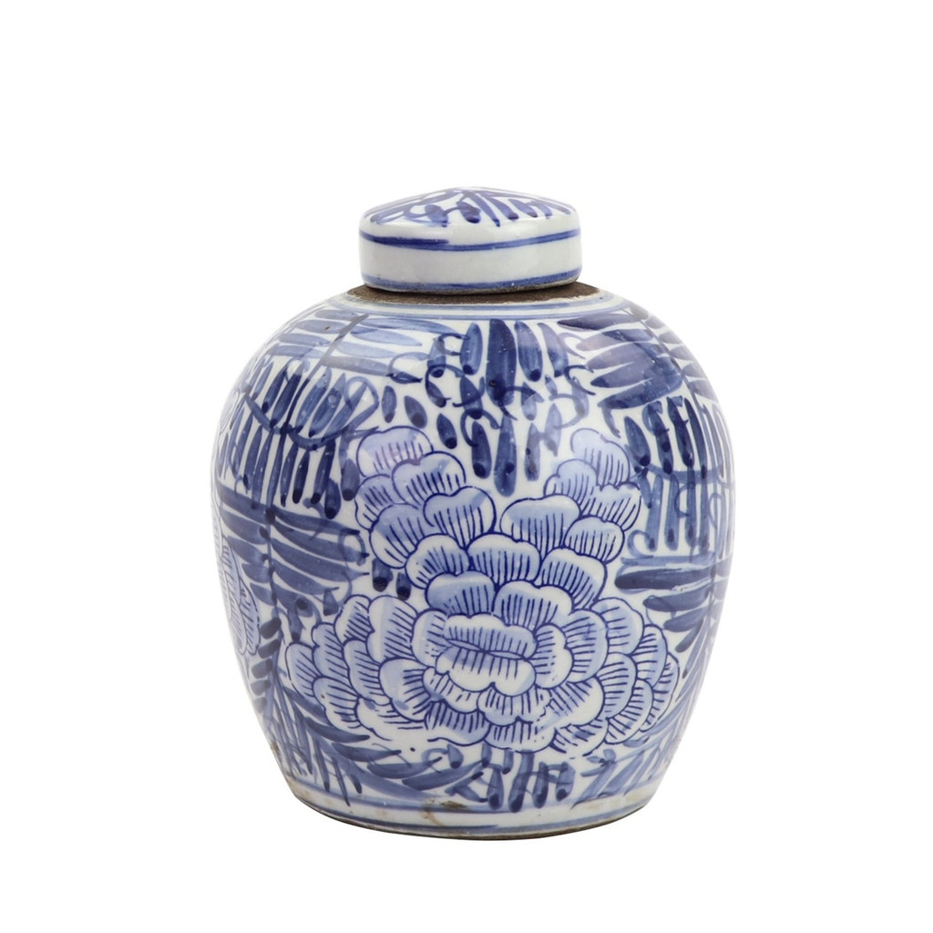 BW Tiny Lid Mini Jar Blue Blooming Flower
