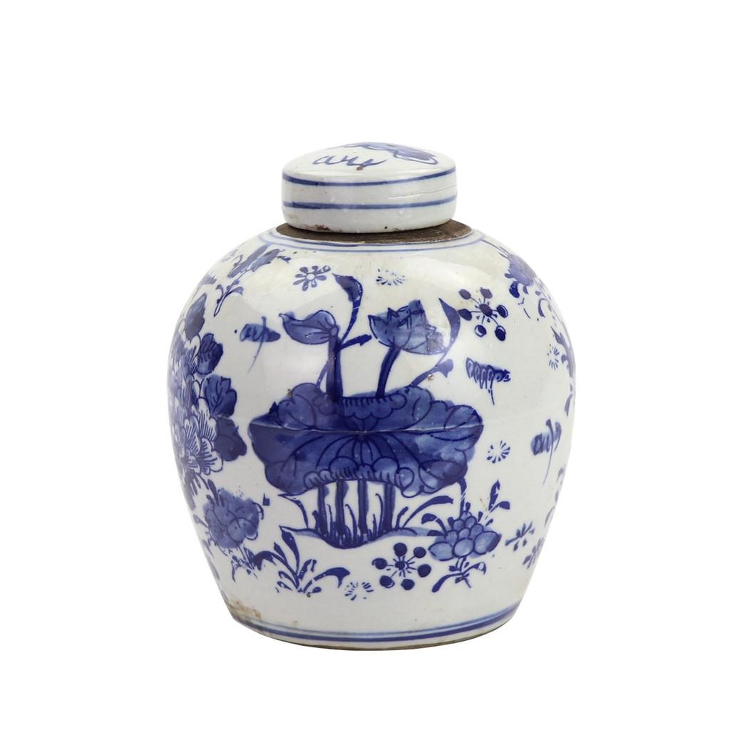 BW Tiny Lid Mini Jar Peony Lotus Motif