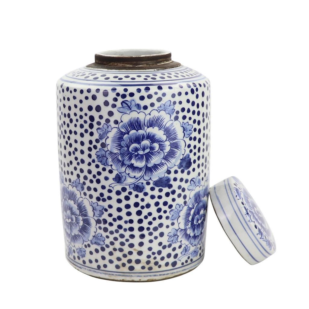 Blue And White Mini Tea Jar Peony Dots - 2 Sizes