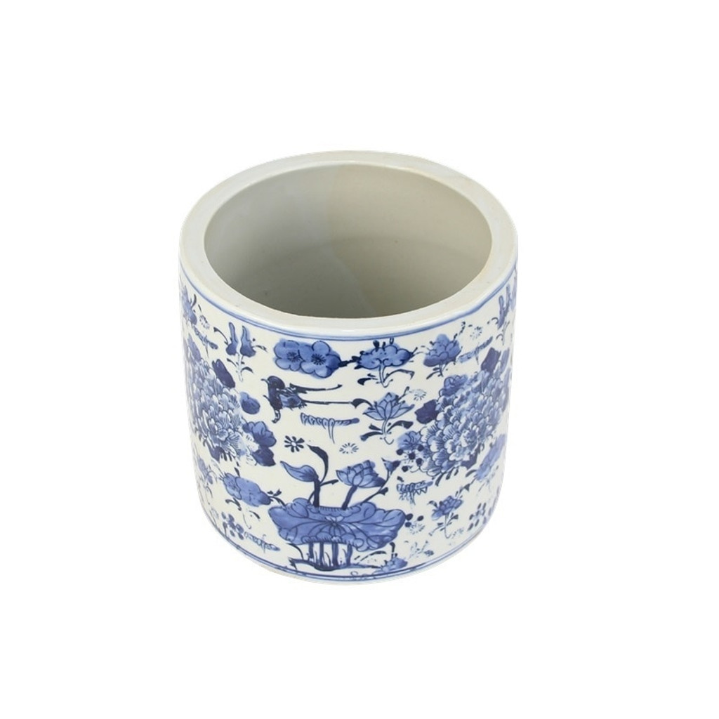 Blue And White Orchid Pot Swallow Flower Motif