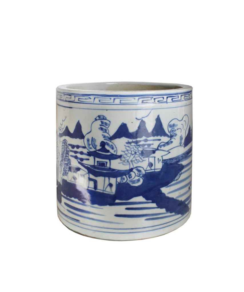 Blue And White Orchid Pot Landscape With Greek Key Trim