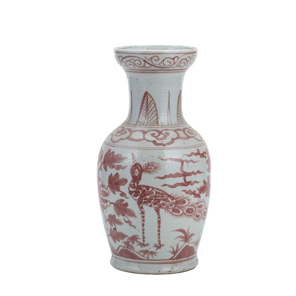 Coral Red Bird Vase With Dish-shaped Mouth Small