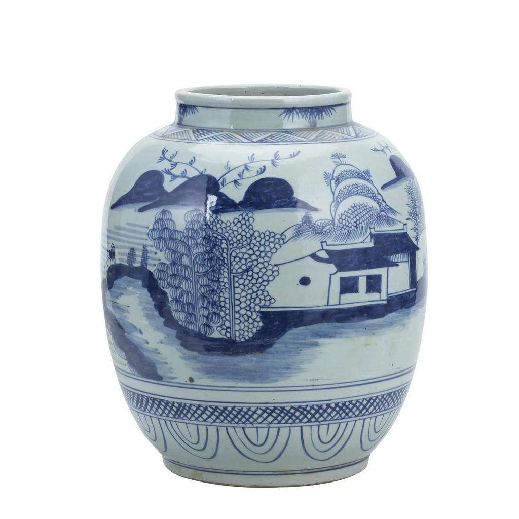 Blue And White Mountain Village Lantern Jar