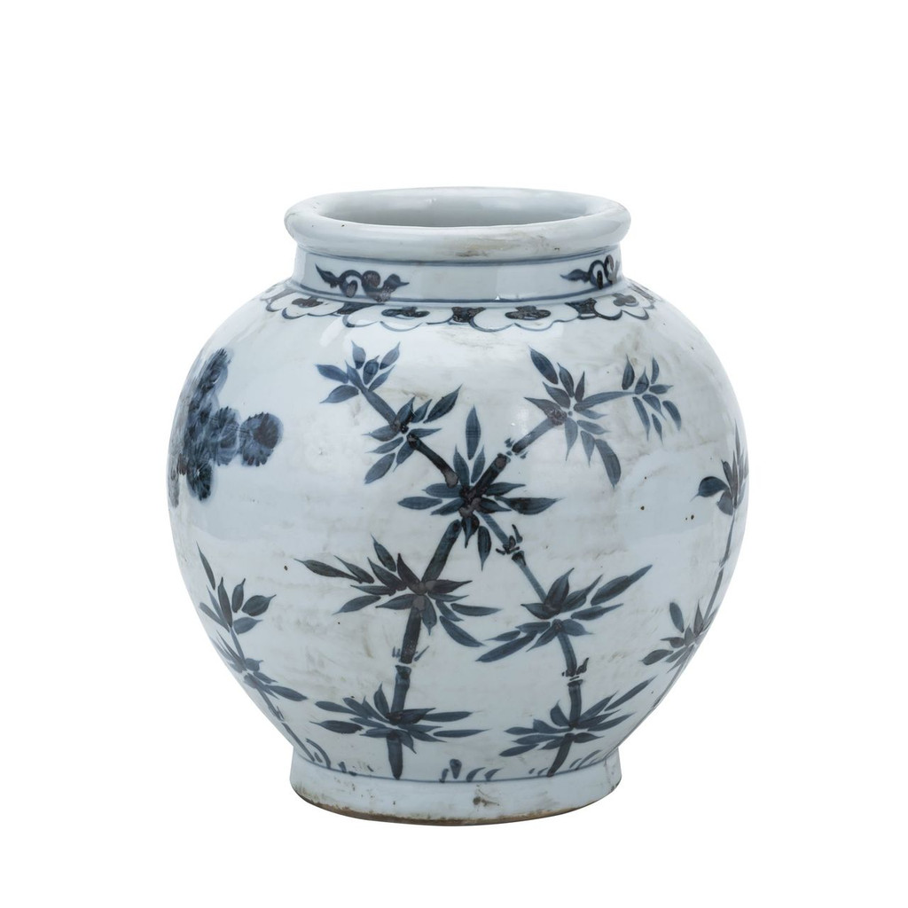 Blue And White Small Jar Pine & Bamboo