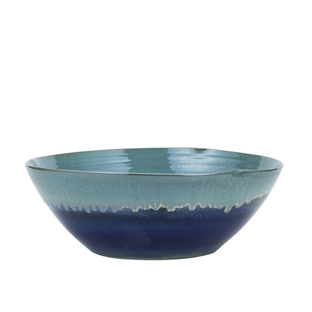 Swirl Bowl Blue Green Reaction Glazed - 2 Sizes