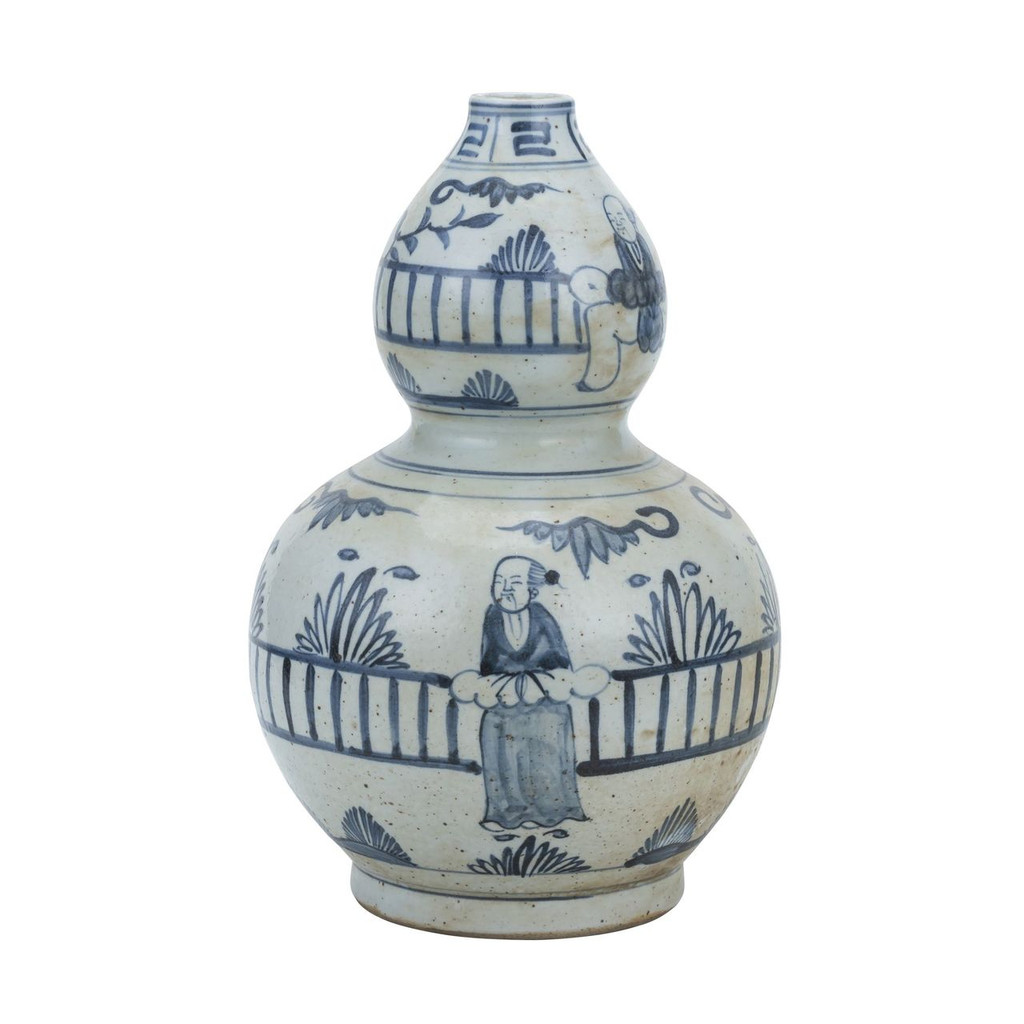 Blue And White Gourd Vase Man Out of Garden Fence