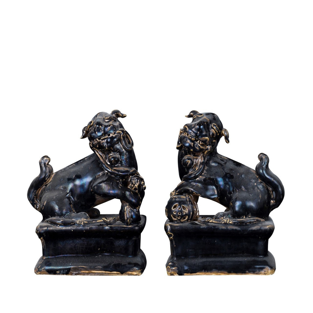 Pair of Black Peking Lion Statues
