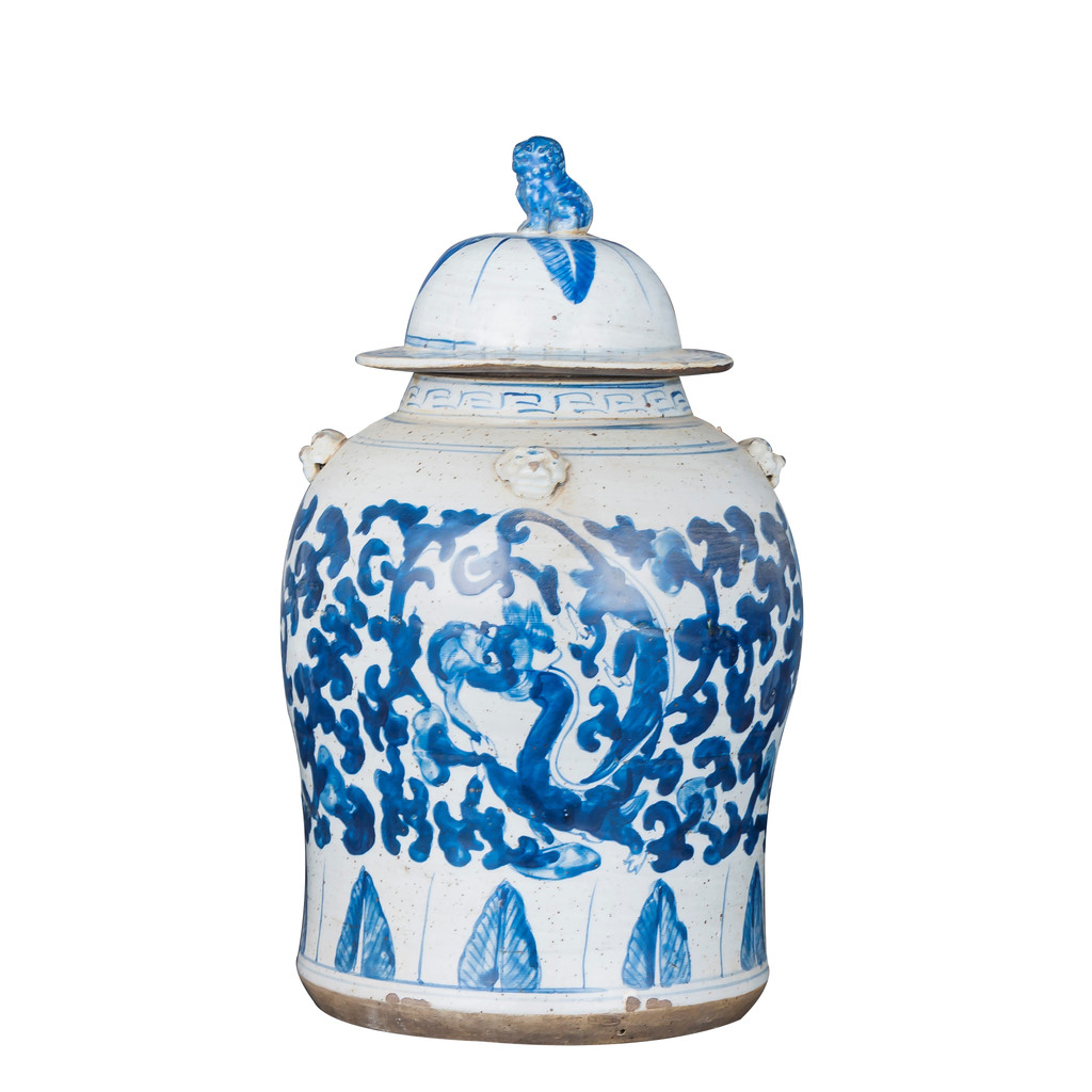 Vintage Temple Jar Twist Lotus Dragon Motif - Small